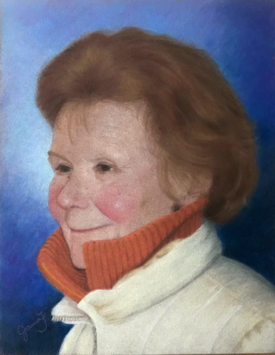 Pastel painting of rosy-cheeked older woman