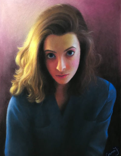 Pastel painting of young woman with light shining on hair