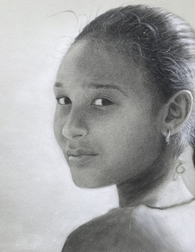 Black and white drawing of young Egyptian girl with braided hair