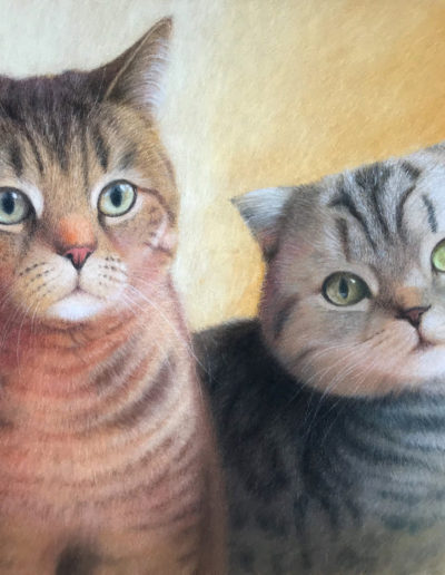 Painting of one brown and one grey tabby cat on a yellow background