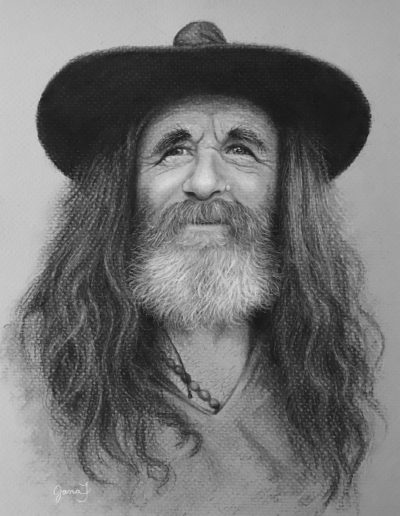 Black and white drawing of man with long hair, a white beard, and a black hat
